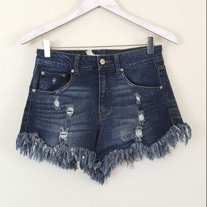 Altar'd State Distressed Raw Hem Denim Shorts